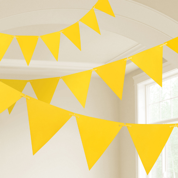 Yellow Plastic Pennants Bunting